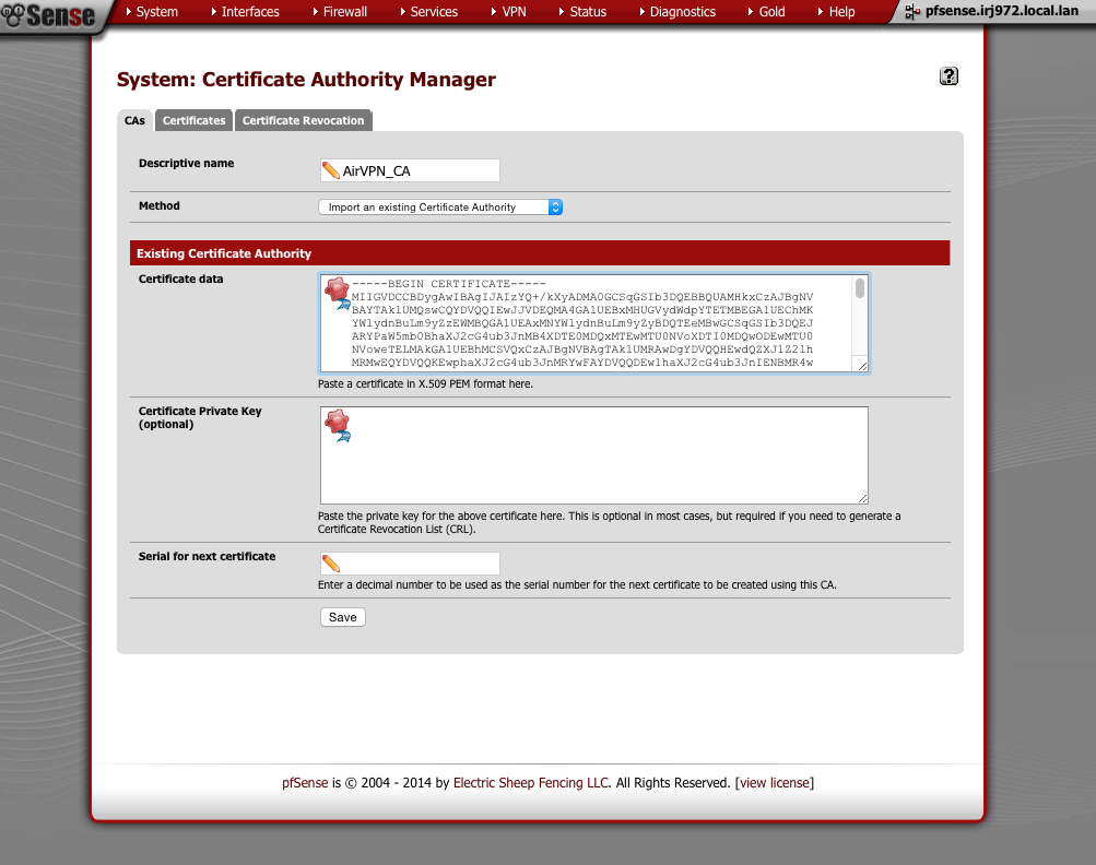 Add certificate authority