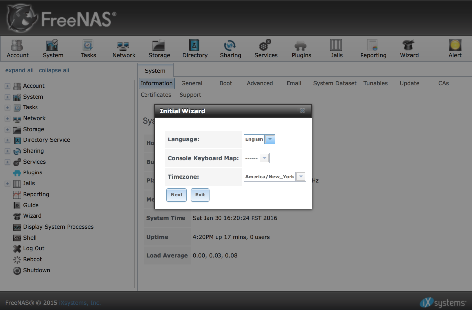 FreeNAS install and configuration