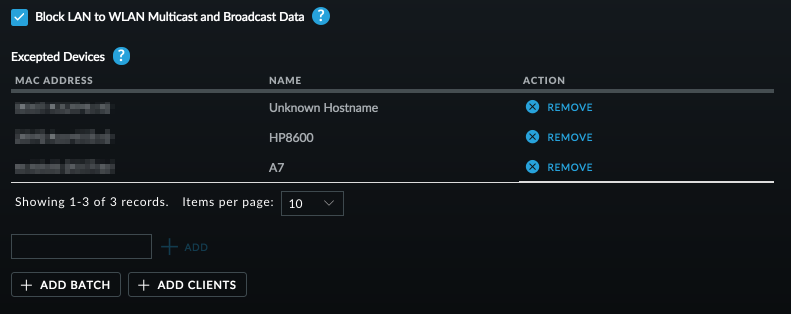 Block LAN to WLAN Multicast and Broadcast Data